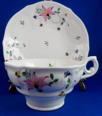 Antique White Porcelain TEACUP & SAUCER Hand painted pink Flowers #16 232
