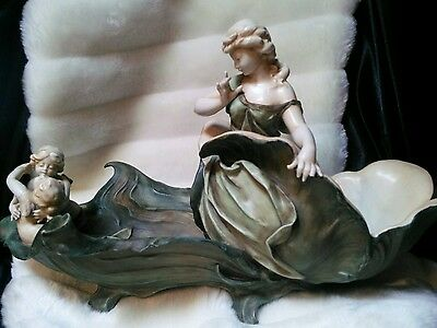Beautiful Large Antique German Porcelain Volkstedt Maiden And Cherub Centrepiece