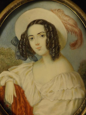 Georgian Hand Painted Signed Miniature Portrait Of A Georgian Young Lady