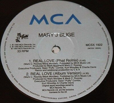"""MARY J BLIGE * REAL LOVE * Classic Soul Funk Boogie 12"""" Vinyl"""