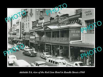 OLD LARGE HISTORIC PHOTO OF ADELAIDE SA, THE RED LION HOTEL, RUNDLE St c1960