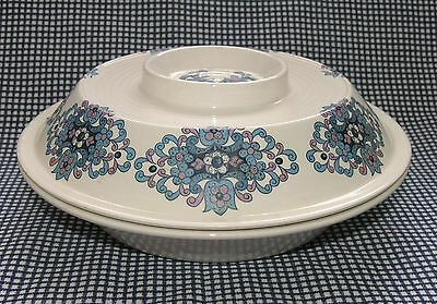 """Vtg 60s-70s veg tureen covered bowl 10"""" 25cm retro blue lilac abstract floral"""