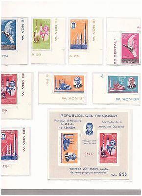 s15044) SPACE 1964  MNH** Paraguay 8v + S/S Imperforated