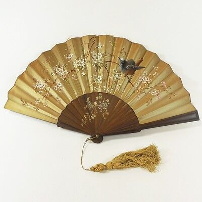 Antique Folding Hand Fan Hand-Painted Silk & Wood, Bird Branches 1880s Paris