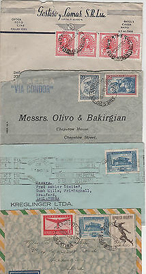 Argentina - 1937 / 47 -  4 Commercial Covers To Uk