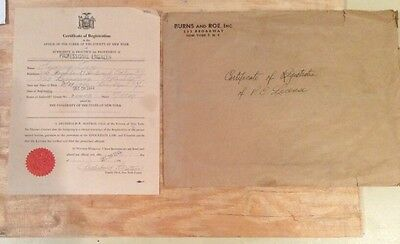 Vintage Document 1949 Certificate of Registration Professional Engineer New York