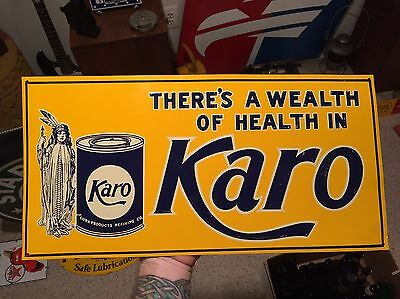 Vintage Karo Syrup Corn Products Embossed Tin Sign Ad Indian Squaw Kitchen Cook