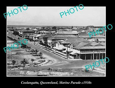 OLD LARGE HISTORIC PHOTO OF COOLANGATTA QLD, VIEW OF MARINE PARADE ca1930