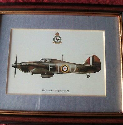 "HURRICANE 1 - 43 SQUADRON FRAMED WAR Aircraft PLANE PICTURE 9""X7"" NEW"