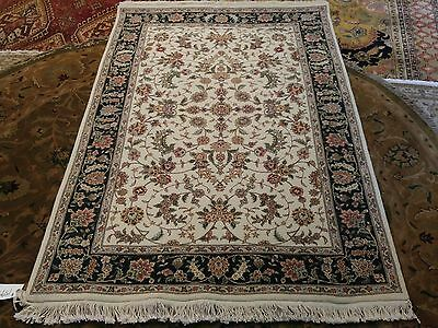 Elegant Fine Hand Knotted Silk On Wool Persian Tabriz Rug 4.1X6Ft Rug F102