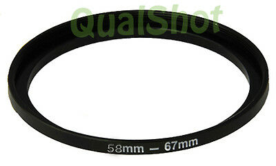 Step-up adapter ring 58-67 58mm-67mm Anodized Black NEW