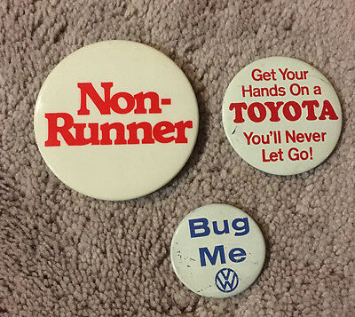 """Vintage RARE Volkswagen Pin """"Bug Me"""" pinback with Toyota buttons"""