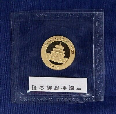 2002 China 1/10oz 0.999 Gold 50 Yuan Panda coin in Sealed Mint pack   (Y5/1)