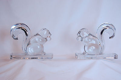 Pair of Czechoslovakian Clear Glass Figures of Squirrels, circa 1950