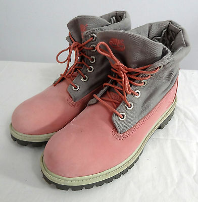 Pink Timberland Suede Ankle Roll Top Suede Desert Boots Womens Size 6