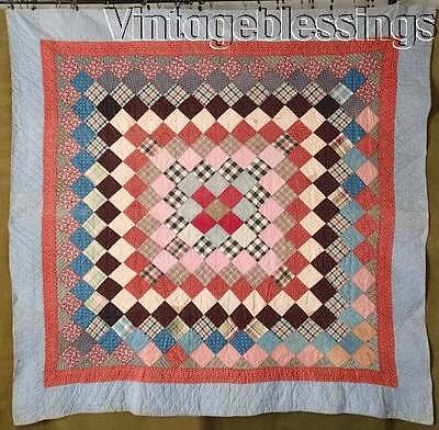 Early PA Prim Antique c1880 Lots of Lancaster Blue QUILT Bars Backing