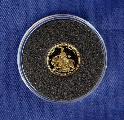 """1989 Gibraltar 2g Gold 1/4 Sovereign coin """"Una & the Lion"""" in Capsule   (Y5/3)"""