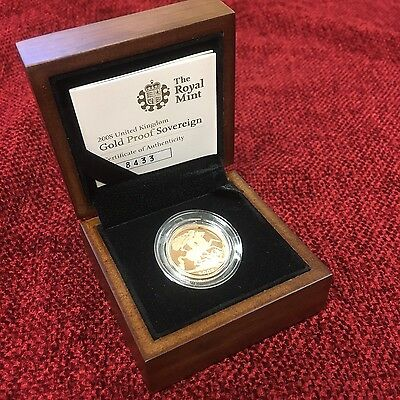 ELIZABETH 2008 PROOF SOVEREIGN BOXED AND COA   Gold Bullion Investment