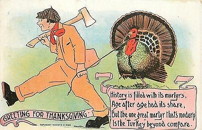 Thanksgiving~Man With Ax Leads Turkey on Rope~History Filled With Martyrs~Rose