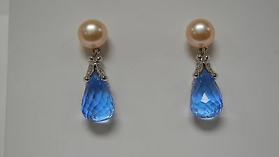 14k White Gold and Pink Freshwater Pearl and Blue Topaz Drop Earrings