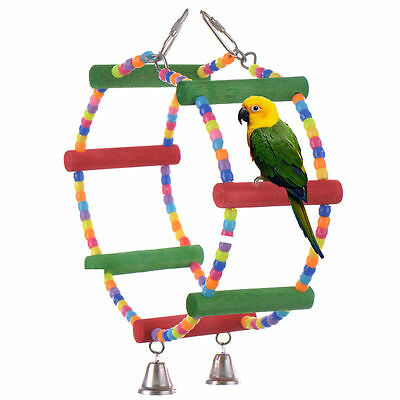 Roundabout bead and wood hanging toy for small birds - budgie, lovebird etc