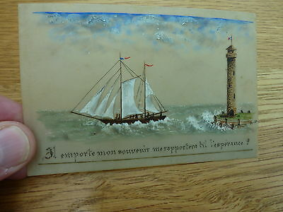 Ww1 Era Beautiful French Hand Painted On Cellulose Picture Of Ship & Lighthouse