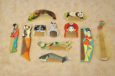 Vintage Set of 11 Hand Painted Chinese Combs, Cat, Panda, Fish In Framed Display