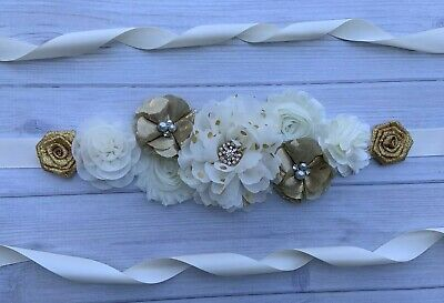 Gold and Ivory Maternity Sash/ Wedding Bridal Sash/Vintage Belt/Flower Girl Sash