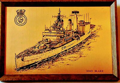 HMS BLAKE - Framed Copper Etching - Èxtremely Rare