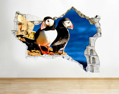 Q519 Puffin Cliff Sea Living Hall Smashed Wall Decal 3D Art Stickers Vinyl Room
