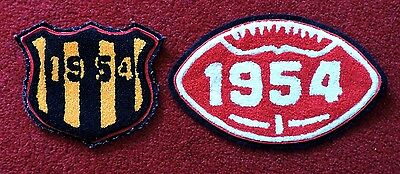 2 (Two) 1954 American University Football Cloth Patch Badges - Ball & Shield