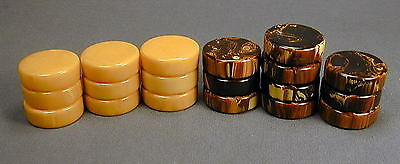 19 Vintage Marbled Catalin Bakelite Backgammon Checkers - Ship To N.america Only