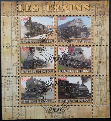 Republique de Djibouti - Trains (Les Trains) Used CTO Miniature Sheet
