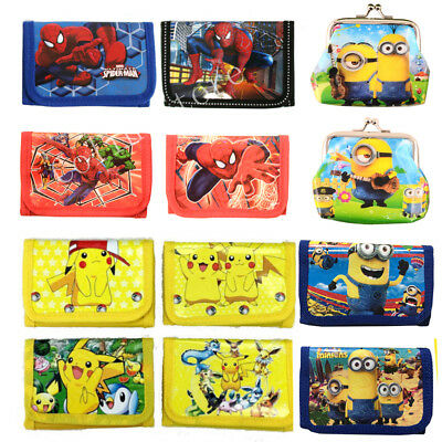 New Cute Spiderman Minions Boys Wallet Trifold Zip Kids Cartoon Coin Purse