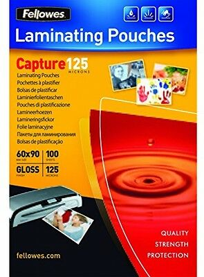 Fellowes Laminating Pouches Capture 125 Micron Glossy 60x90mm Pack x100 Quality
