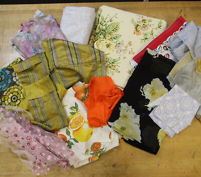 5+ Pound Vintage Fabric Mixed Lot Grab Bag Prints Outdoor Floral Poundage Scraps