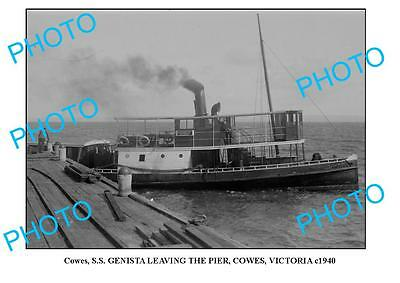 OLD LARGE PHOTO, COWES PHILLIP ISLAND VICTORIA, SS GENISTA AT PIER c1940