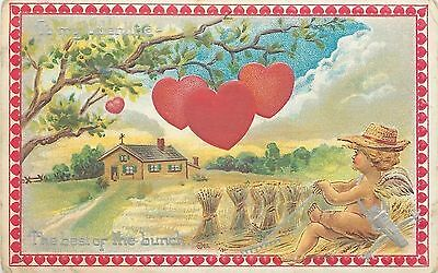 Valentine~Farmer Cupid Surveys House From Field~Sheaves~Clouds~Hearts on Tree