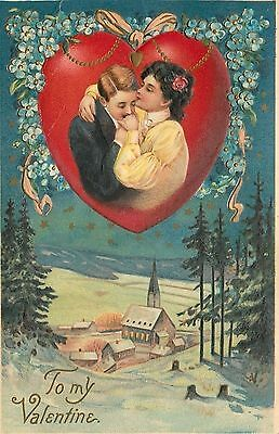 Valentine~Couple Embrace in Red Heart Portal~Snowy Village Night~Emb~Langsdorf