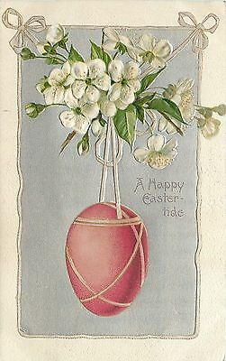 Easter~Ribbon Wrapped Egg Hangs From White Blossoms~Silver Emboss~1909~Winsch