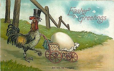 "Fantasy Easter~Rooster In Top Hat Pushes ""Youngest"" In Baby Carriage~Egg~Emboss"