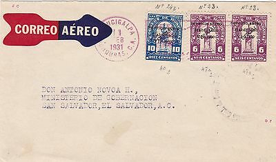 Honduras 1931 Airmail Cover to El Salvador With Rare 6c Official Air Stamps