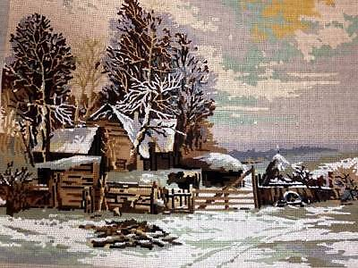 Colibri Printed Tapestry Needlepoint Canvas Winter Farmyard Country Scenic