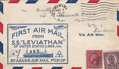 USA 1929 First Airmail Cvr From SS Leviathan to London UK 5c Rate