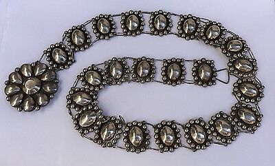 """Vtg Old MEXICO Sterling Silver Flower Panel Concho Ball Link BELT 30.5"""" Long"""