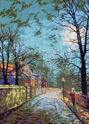 John A Grimshaw Printed Tapestry Needlepoint Canvas A Wet Winters Evening