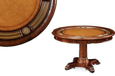 Luxurious 52 inch Round Traditional Leather Top Poker Table, Card Table