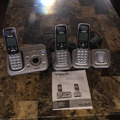 VTech cordless phone CS6328-3 DECT 6.0 digital answering caller ID 3 Handsets