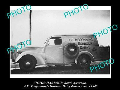 Old Historic Photo Of Victor Harbour Sa, Tregonning Dairy Delivery Van 1945