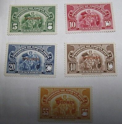 Costa Rica Scott 191-195 Without Overprint Specimen Mint Never Hinged Complete